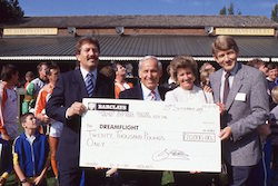 Dreamflight. Bernard Tominey presenting cheque