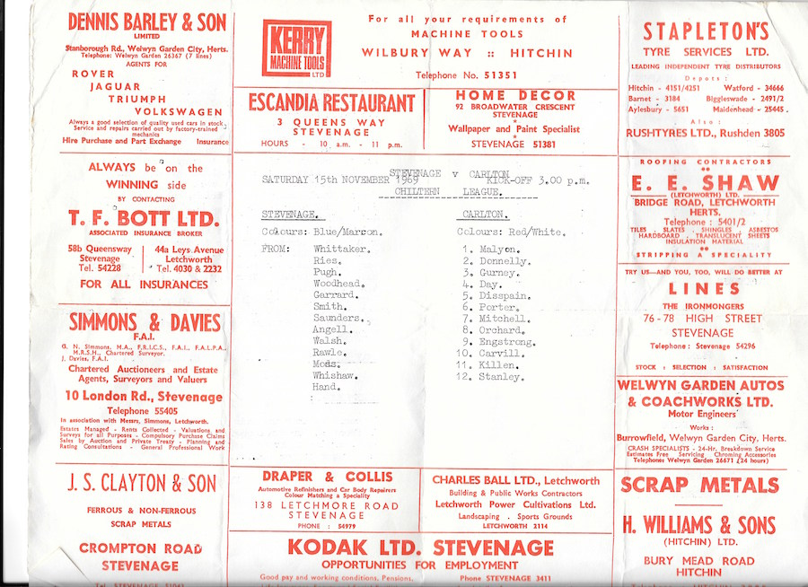 Stevenage v Carlton 15 Nov 1969