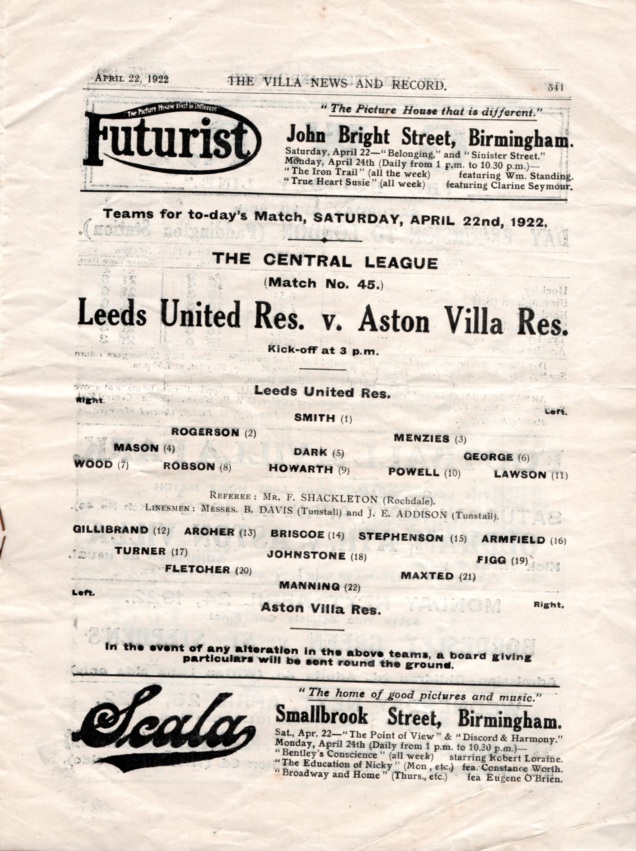 leeds uited v aston villa 1922