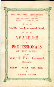 1925 Amateurs v Pros Highbury small