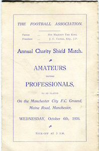 1926 Amateurs v Pros Maine Road 1small
