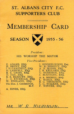 1955 56 SAC Membership Card Bill Nicholson small