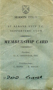 1970 71 SAC Membership Card David Tavener small