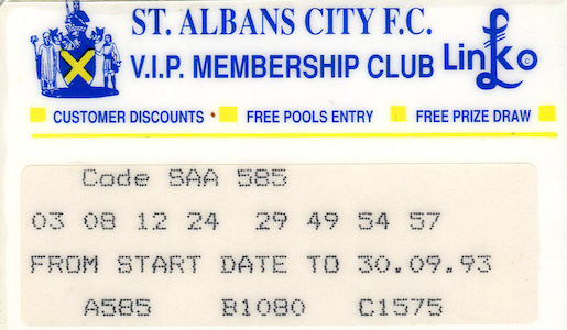 1993 94 VIP Membership Card small