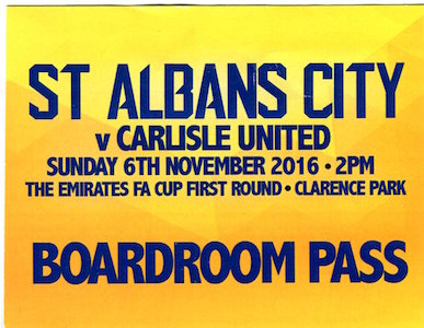 2016 17 Carlisle United Boardroom pass small